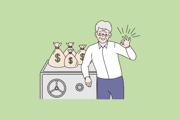 Lächelnder reifer mann empfiehlt geld zu sparen oder zu investieren