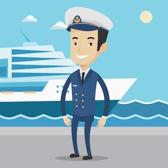 Lächelnder schiffskapitän in uniform am hafen.