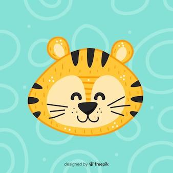Lächelnder tigerhanddämmerungshintergrund