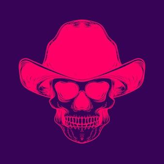 Lächelnder totenkopf mit cowboyhut