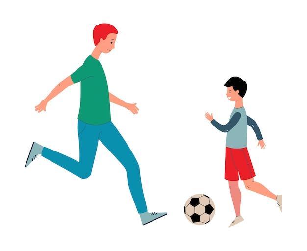Lächelnder vater und sohn, die fußball mit einem ball spielen. familienwochenende im freien. karikatur lokalisiert auf einem weißen hintergrund.