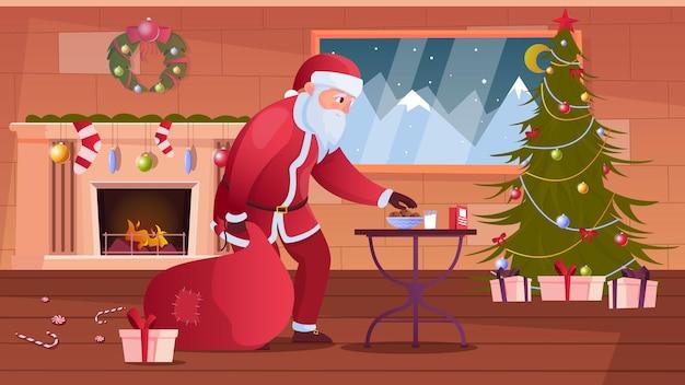 Lächelnder weihnachtsmann, der keks in der dekorierten zimmerwohnung nimmt Premium Vektoren