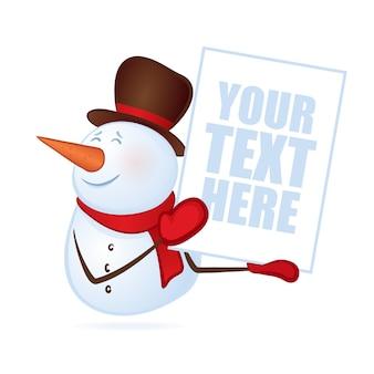 Lächelnder winterschneemann mit leerem banner oder plakat in den händen lokalisiert auf weißem hintergrund. fröhliche weihnachten