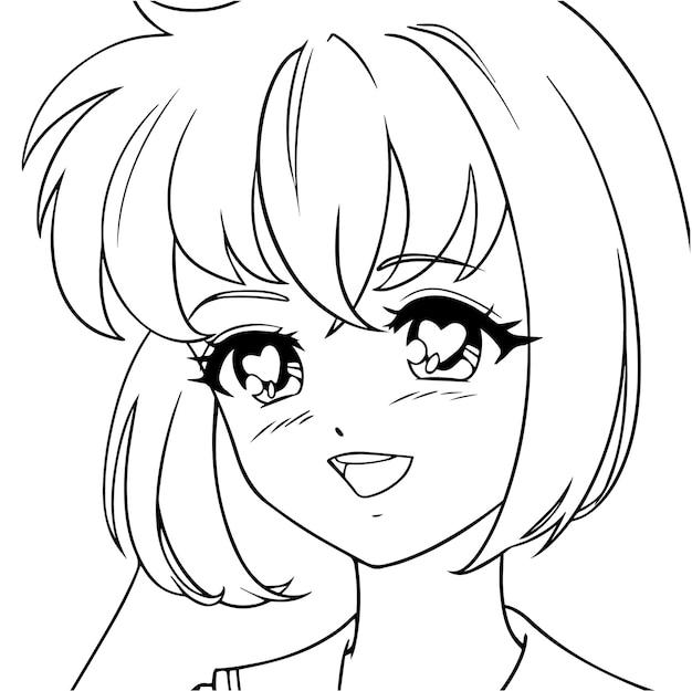 Lächelndes anime-mädchen mit herzen in ihren augen.