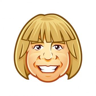 Lächelndes charaktermaskottchen des frauenkopfes, für ikone, avatar oder logo