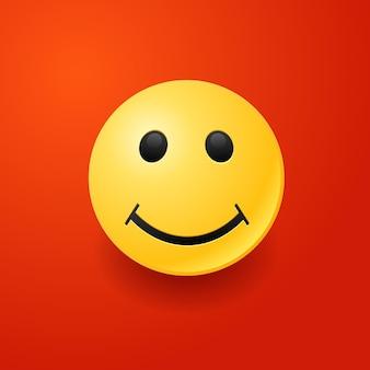 Lächelndes gesicht emoji auf rotem hintergrund.