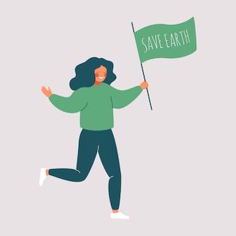 Lächelndes mädchen, das eine grüne flagge hält, die save earth sagt.