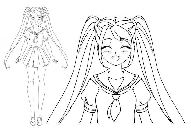 Lächelndes manga-mädchen mit geschlossenen augen und zwei zöpfen, die japanische schuluniform tragen. hand gezeichnete vektorillustration. isoliert.