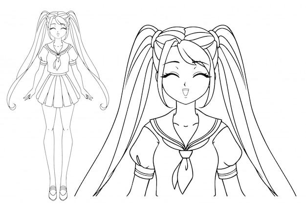 Lächelndes mangamädchen mit geschlossenen augen und zwei zöpfen, die japanische schuluniform tragen. hand gezeichnete vektorillustration. isoliert.