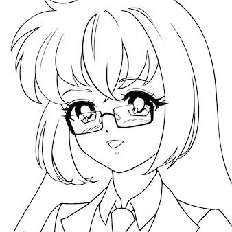 Lächelndes niedliches anime-mädchen, das brille trägt