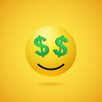 Lächelndes reiches emoticon mit dollarzeichenaugen und -mund auf gelbem steigungshintergrund. vektor lustige gelbe cartoon emoji-symbol. 3d-darstellung für chat oder nachricht.