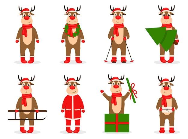 Lächelndes rentier, das weihnachtsmützenschalillustration trägt