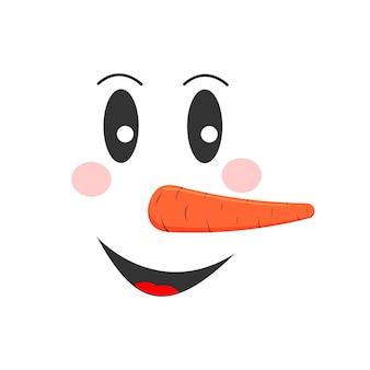 Lächelndes schneemanngesicht mit glücklichen gefühlen lustiger schneemannkopf winterferiencharakter