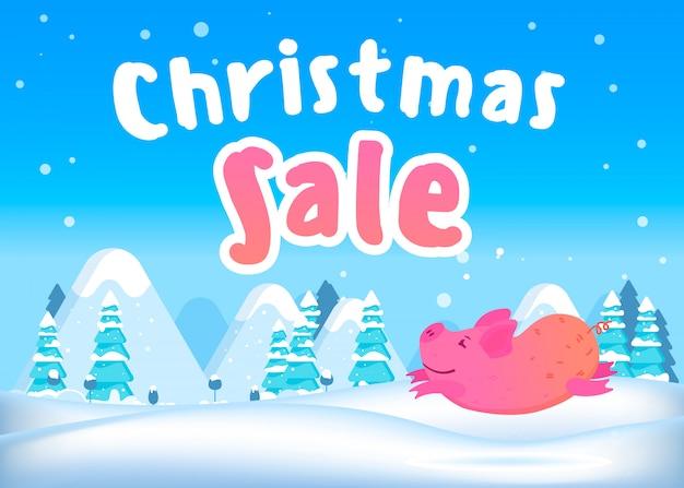 Lächelndes schwein springt auf. weihnachtsverkauf banner.