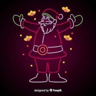 Lächelndes weihnachtsmann-leuchtreklame