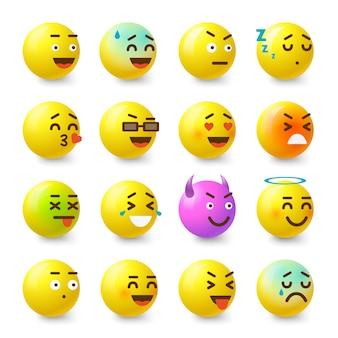 Lächelnikonen eingestellt. isometrische illustration von 16 lächelnvektorikonen für netz