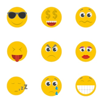 Lächelnikonen eingestellt. karikatursatz von 9 lächelnvektorikonen
