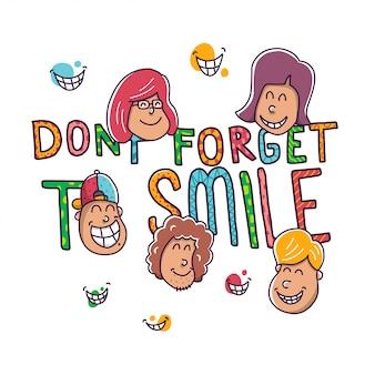 Lächelnillustration nicht vergessen