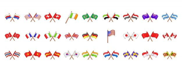 Länderflaggen-elementsatz. karikatursatz landesflaggen-vektorelemente