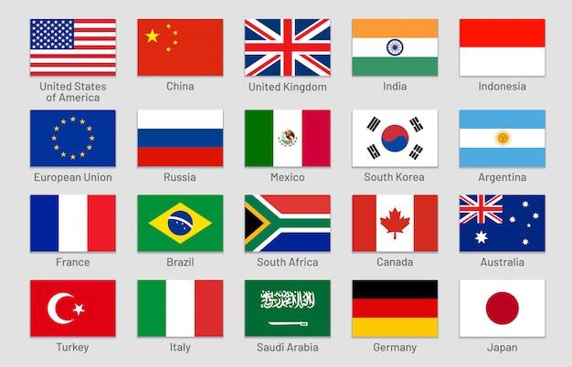 Länderflaggen. wichtige staaten der fortgeschrittenen und aufstrebenden volkswirtschaften der welt, offizielle gruppe von 20 flaggenetiketten gesetzt