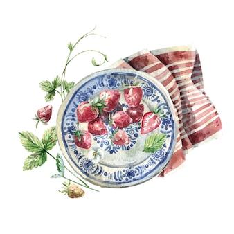 Ländliche aquarellillustration - erdbeeren auf einem teller. vintage teller, serviette und erdbeeren. bild für menüs, postkarten, bücher.