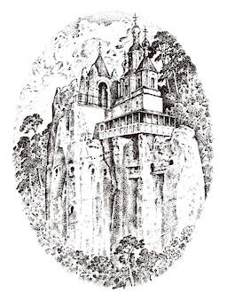 Ländliche kirche auf dem berg oder der klippe. rustikales kloster.