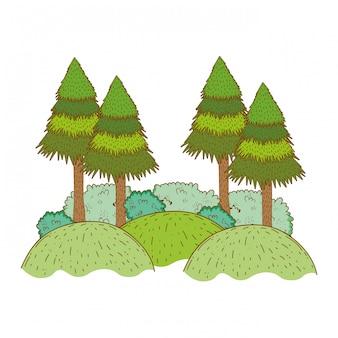 Ländliche landschaft der bäume in der runden ikone