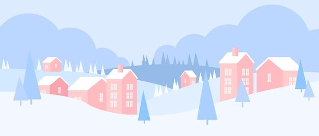 Ländliche landschaft der weihnachtswinterferien mit dorf, wald, kiefern, häusern, schneeverwehungen, hügeln