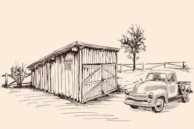Ländliche landschaft mit einem bauernhofwagen neben einer alten scheune mit geschlossenem tor. handskizze auf beigem hintergrund.