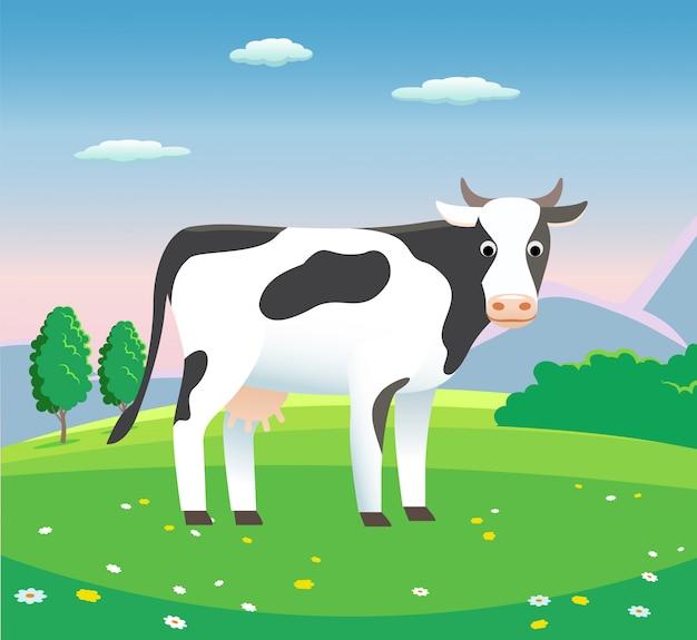 Ländliche landschaft mit kuh auf der wiese, - hintergrundillustration für milchprodukte