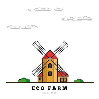 Ländliche landschaft mit windmühle. öko-farm-konzept