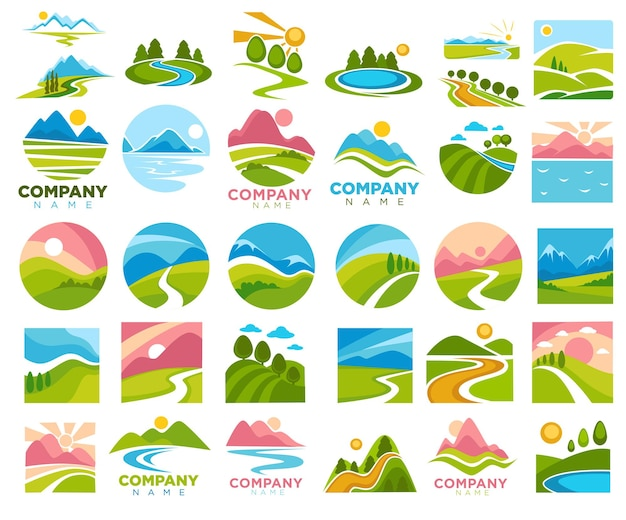 Ländliche landschaften und ansichten der natur. wege und straßen, sonnenschein und sommer- oder frühlingssaison. wiesen und hügel mit grünem gras, bäumen und flüssen, bergketten. vektor im flachen stil