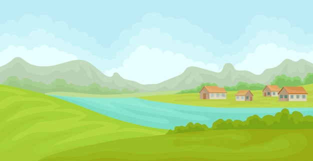Ländliche sommerlandschaft mit häusern und fluss, feld mit grünem gras, landwirtschaft und landwirtschaft illustration auf einem weißen hintergrund