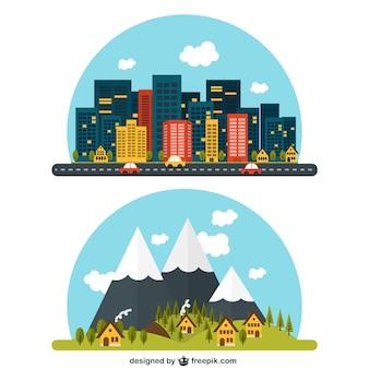 Ländliche und städtische landschaft