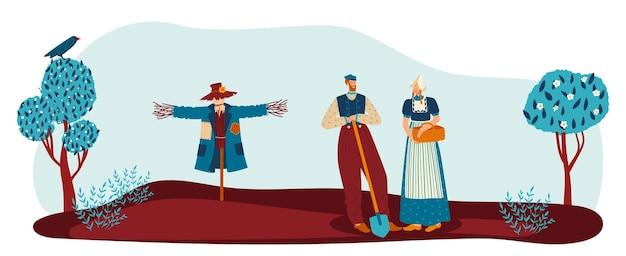 Ländlicher garten mit bauernpaar vektorillustration frau mann person charakter gartenarbeit zusammen landarbeiter bei ethnischer kleidung