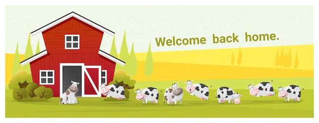 Ländlicher landschafts- und viehhintergrund mit kühen