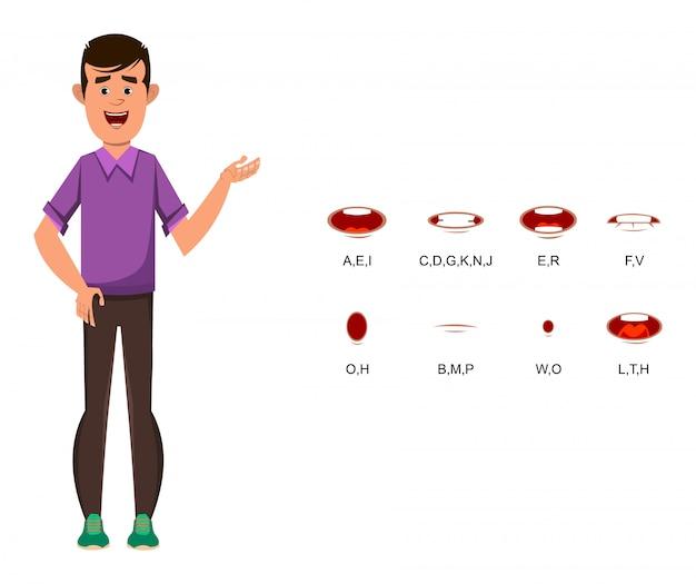 Lässige jungen-zeichentrickfigur mit unterschiedlicher lippensynchronisation für design, bewegung oder animation