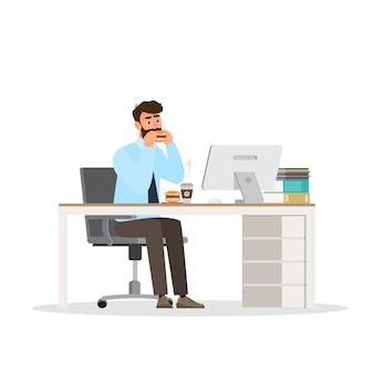 Lässige kleidung des intelligenten mannes, im büro sitzend