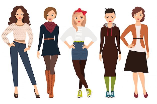 Lässige mode für süße frau. karikaturjugendliche in der täglichen kleidervektorillustration