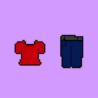 Lässiges fashion-set im pixel-art-stil