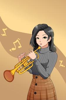Lässiges mädchen, das trompete-charakterdesign spielt playing