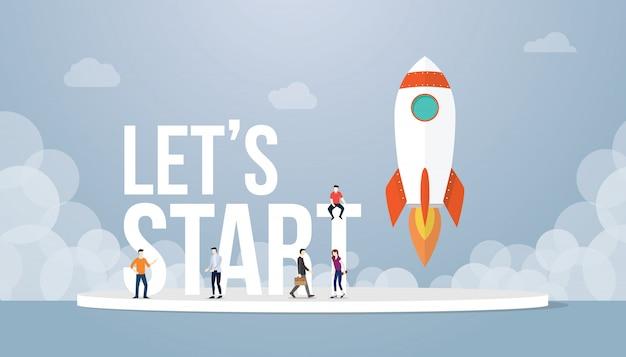 Lässt großes wortkonzept mit teamleuten und raketenstartstartgeschäft beginnen
