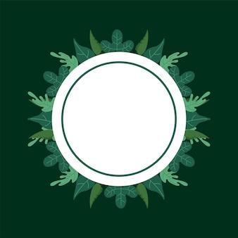 Lässt naturlaubmusterhintergrund im kreisförmigen rahmen