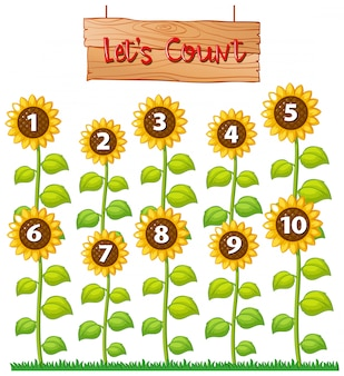 Lässt plakat mit sonnenblumen zählen