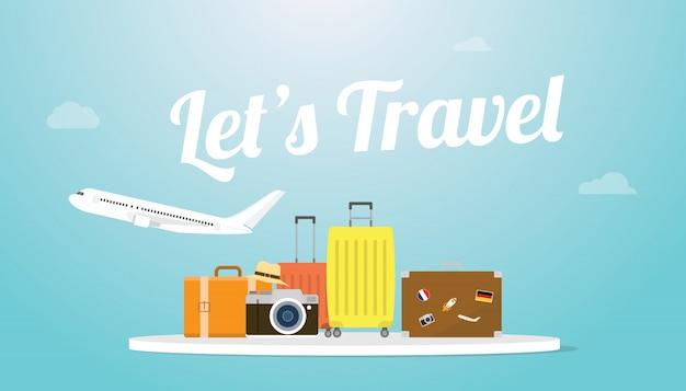 Lässt reise- oder feiertagsplakatkonzept mit flugzeug und gepäcktasche und großer text oder wörter mit moderner flacher art