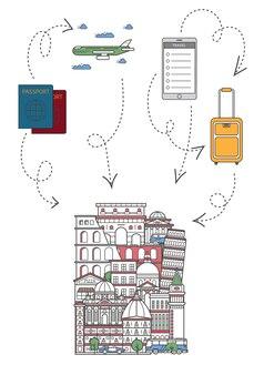 Lässt reiseillustration in der linearen art