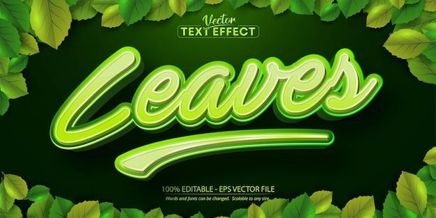 Lässt text, bearbeitbarer texteffekt im cartoon-stil auf grünem blätterhintergrund
