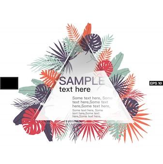 Lässt tropische fahnenschablone mit dreieckform