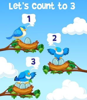 Lässt zum konzept mit drei vögeln zählen