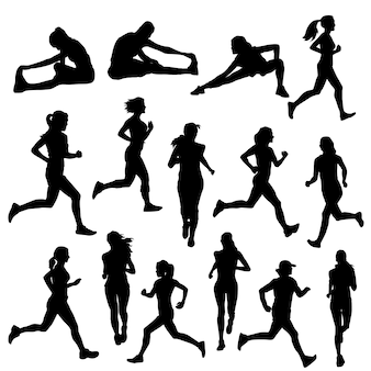 Läufer-frauen-straßen-sport-schattenbild-clipart